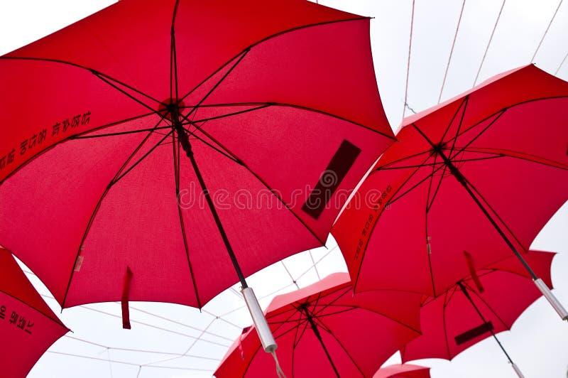 Red umbrellas in Korea
