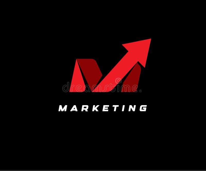 Red up arrow on black background, vector illustration. SEO icon, marketing abstract symbol, delivery logotype, financial. Rating illustration, letter M, bets stock illustration