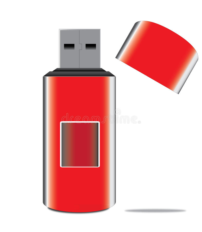 Red usb key vector illustration
