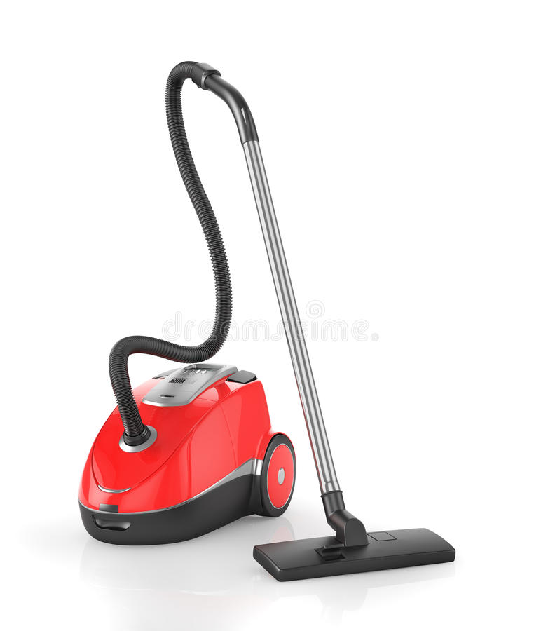 Red vacuum cleaner vector illustration