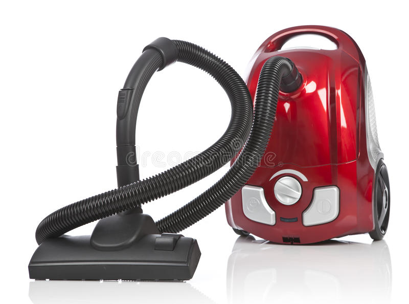 Red vacuum cleaner royalty free stock photo