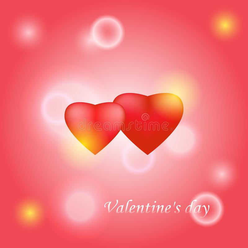 Red Valentine heart in the center on a pink decorative background. Blurred background with bokeh. The glare of light. Vector royalty free illustration