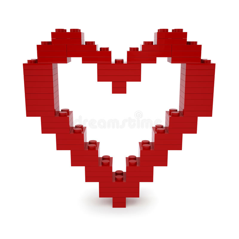 Red valentine heart made of Lego Blocks stock illustration