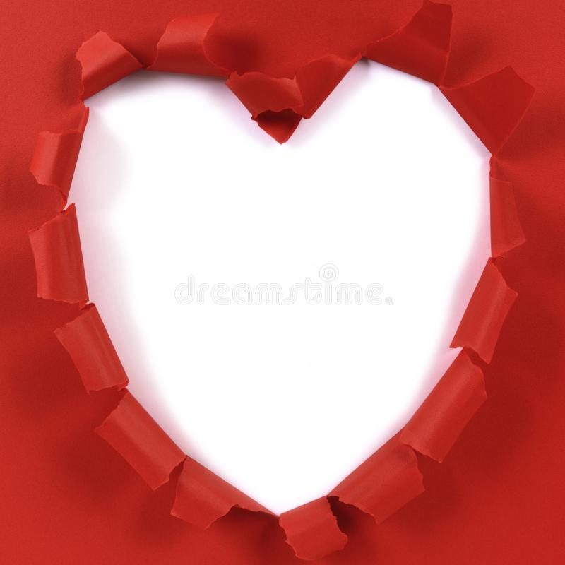 Red valentine heart shape torn paper, white background. Ripped royalty free stock photography