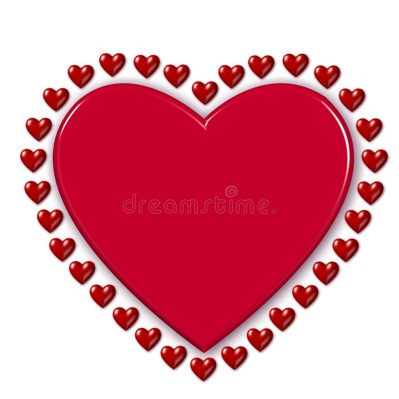 Red valentine hearts. A three-dimensional illustration of a large red valentine heart outlined by many smaller red hearts on a white background vector illustration