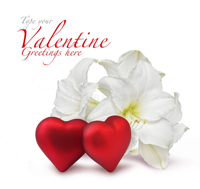 Download Red Valentine Hearts And White Lily Stock Photo - Image: 17666556