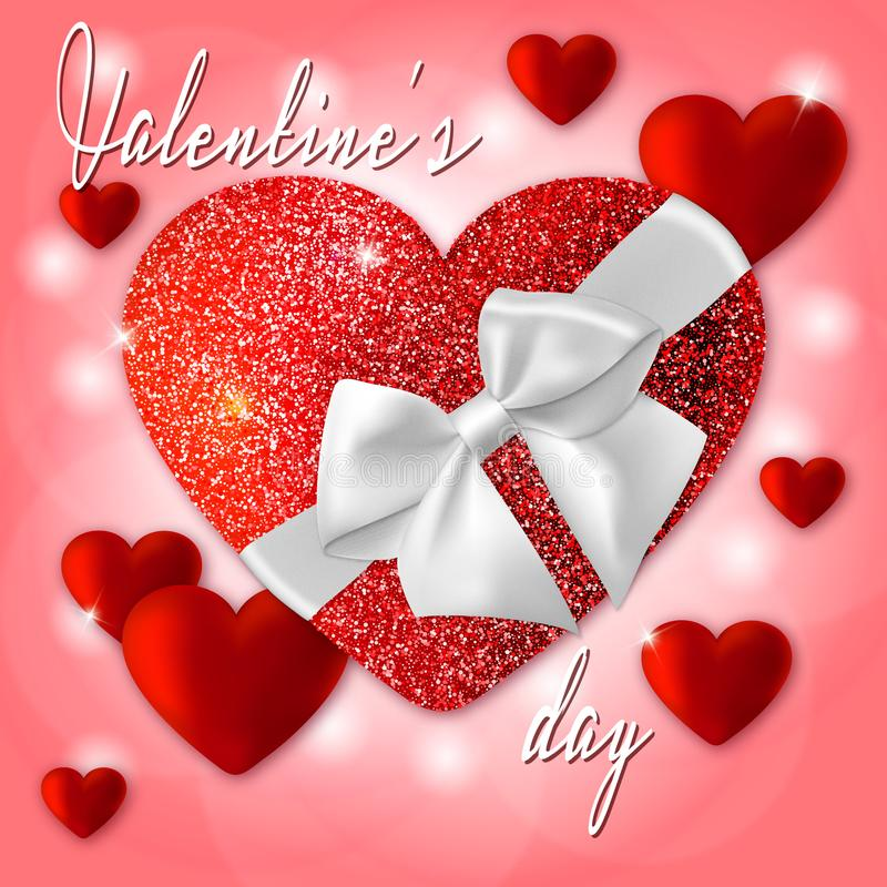 Red Valentine`s shiny hearts background royalty free stock image