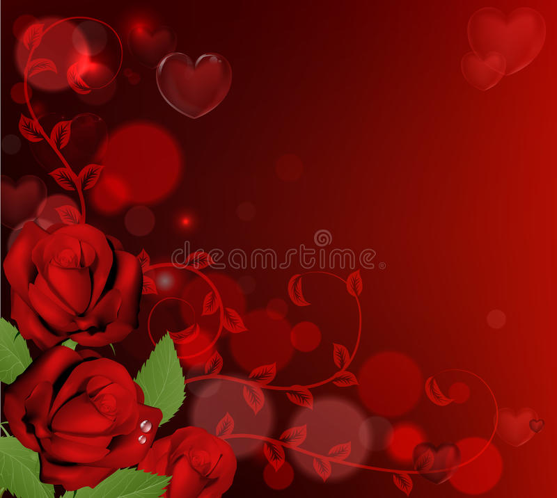 Red valentines day roses background. Red valentines day background with heart shaped bubbles and red roses