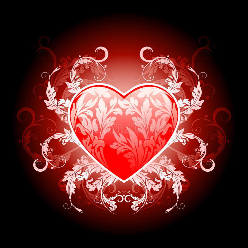 Red valentines heart with floral pattern royalty free stock photo