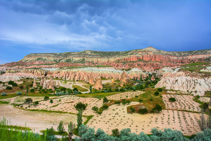 Red valley at Cappadocia, Anatolia, Turkey. Volcanic mountains i royalty free stock photos