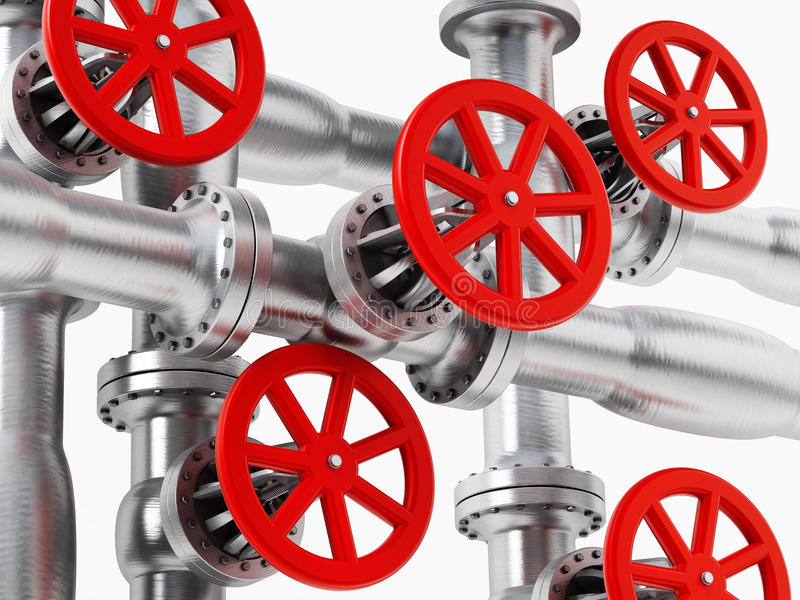 Red valve on metal pipe stock illustration