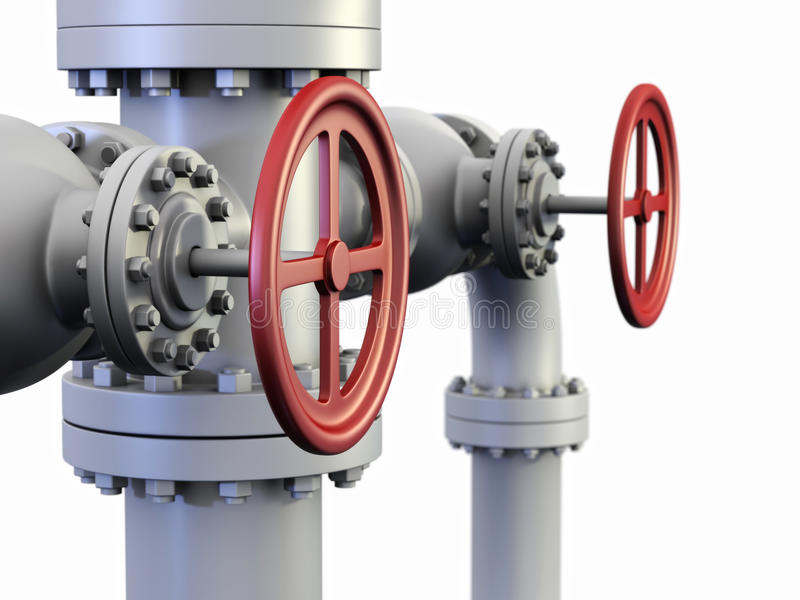 Red Valve on oil and gas pipe system. vector illustration