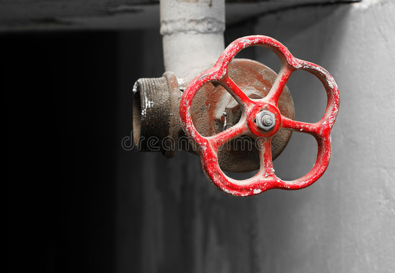 Download Red Valve For Water Supply In Dark Basement Stock Photo - Image: 21765094