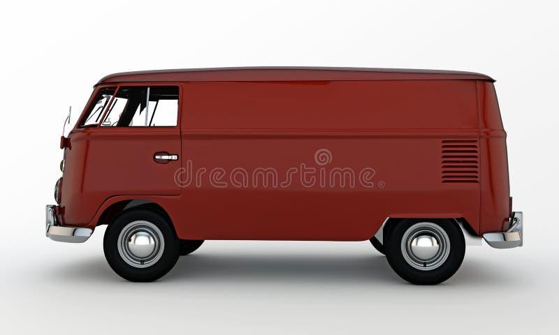 Red van. On white background stock illustration