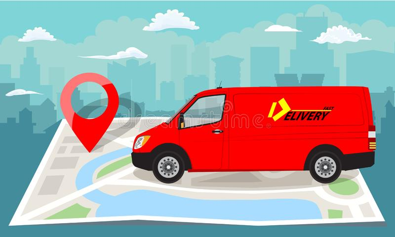 Red van over folded flat map and red pin. Cityscape background. Vector illustration. royalty free illustration