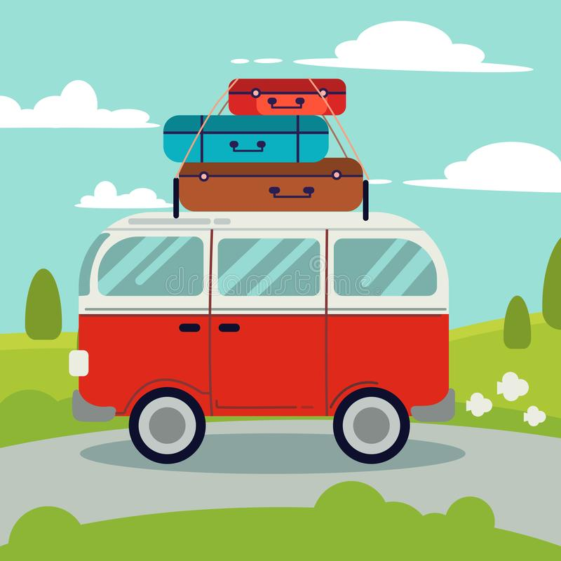 A red van on the road.Above of the red van have many bag for a good trip.A red van go to the trip on the road and have natural royalty free illustration