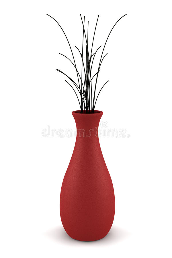 Free Red Vase With Dry Wood Isolated On White Stock Photo - 11574230