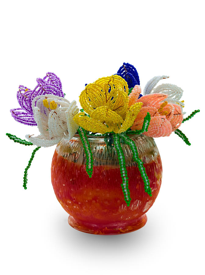 Free Red Vase With Flowers From Glass Beads And Wire Royalty Free Stock Photography - 9528157