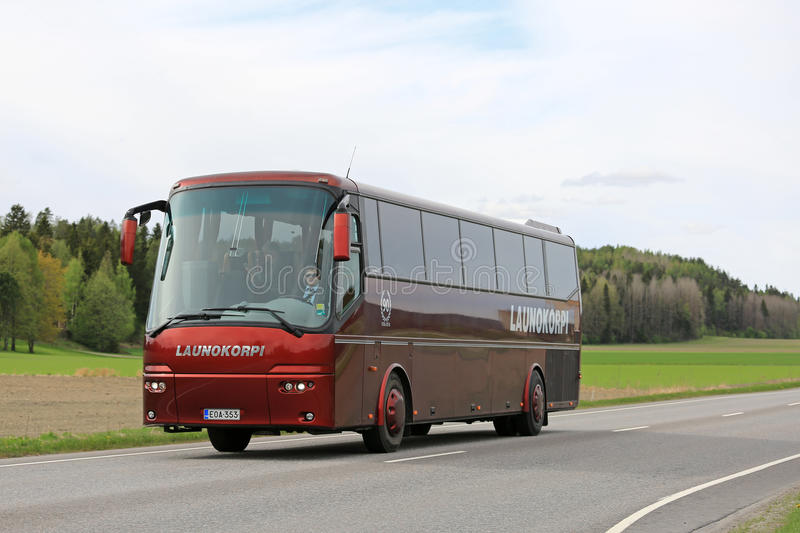 Red VDL Bova Coach Bus on Road stock photo