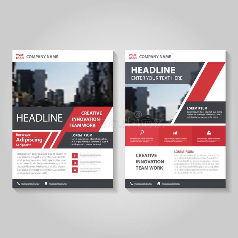 Red Vector annual report Leaflet Brochure Flyer template design, book cover layout design, Abstract red presentation templates royalty free illustration