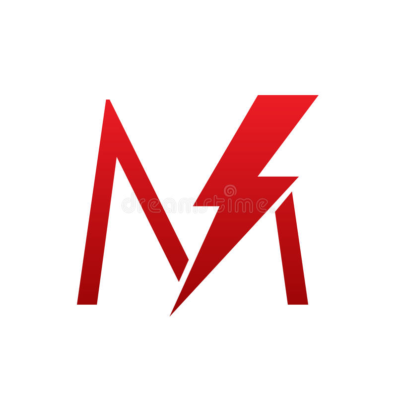 Download Red Vector Bolt Electric Letter M Logo Stock
