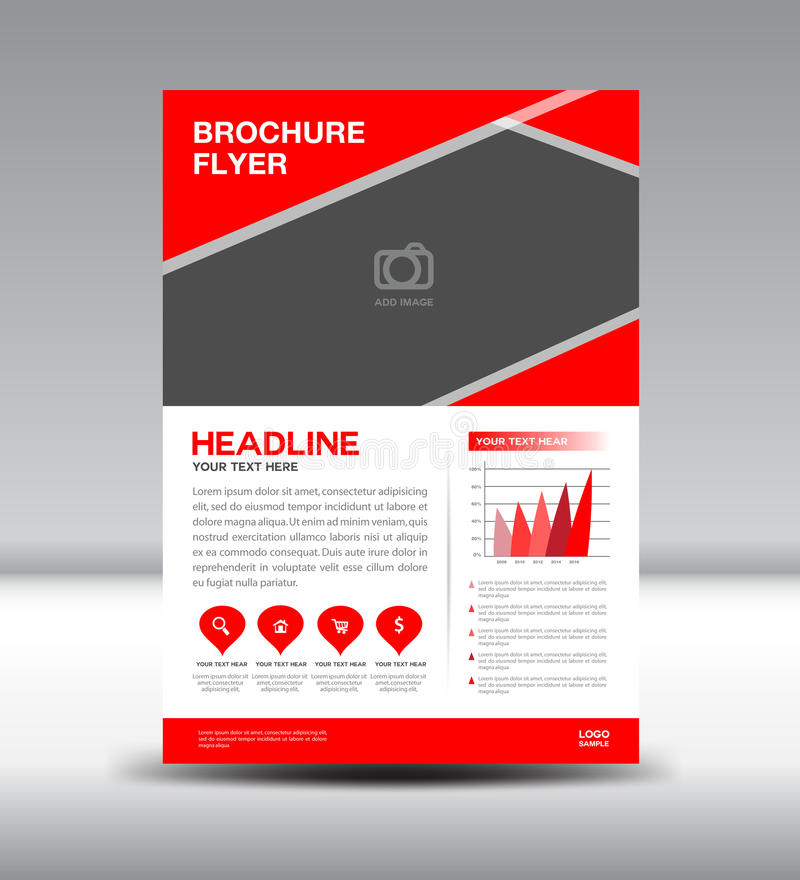 Red Vector Brochure Flyer Template Stock Vector  Illustration Of