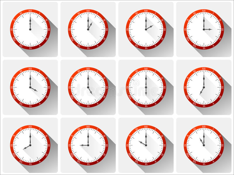 12 red vector clocks. Twelve different vector clocks with shadows in red color royalty free illustration