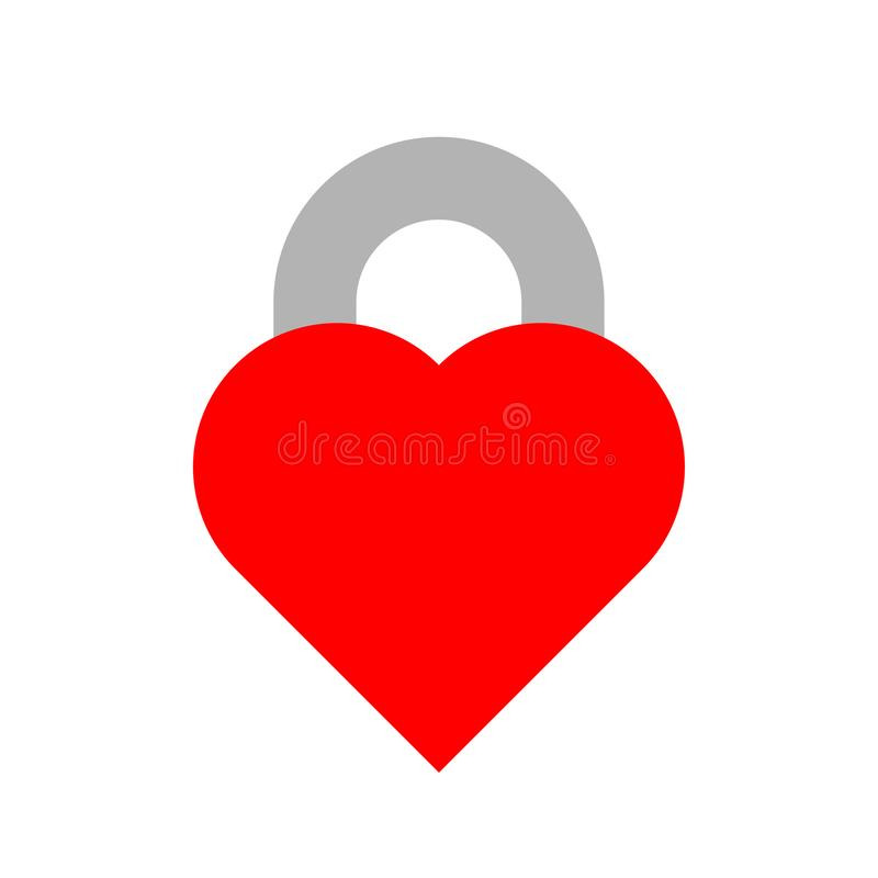 Red vector closed lock in the form of heart with keyhole. Flat icon isolated on white background. Vector shape sign for romantic. And valentine greeting vector illustration