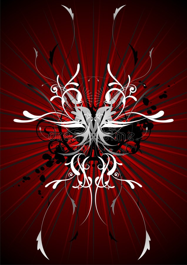 Red vector design. Vector illustration with floral motive and red background vector illustration