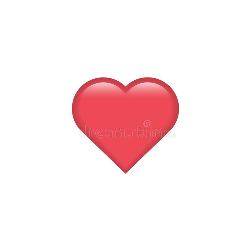 Red vector heart icon. Heart emoji. Heart sticker. Love symbol Valentine`s Day. Element for design logo mobile app interface card royalty free illustration