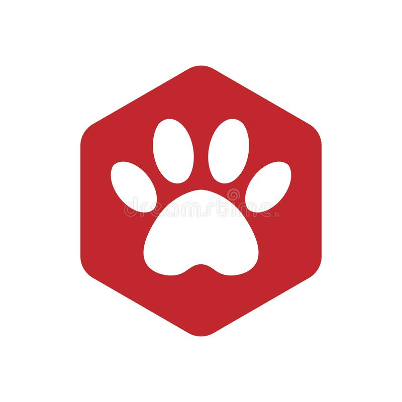 Red vector hexagon shape icon with the animals. Cat paw icons isolated. animal footprint hexagonal stock illustration