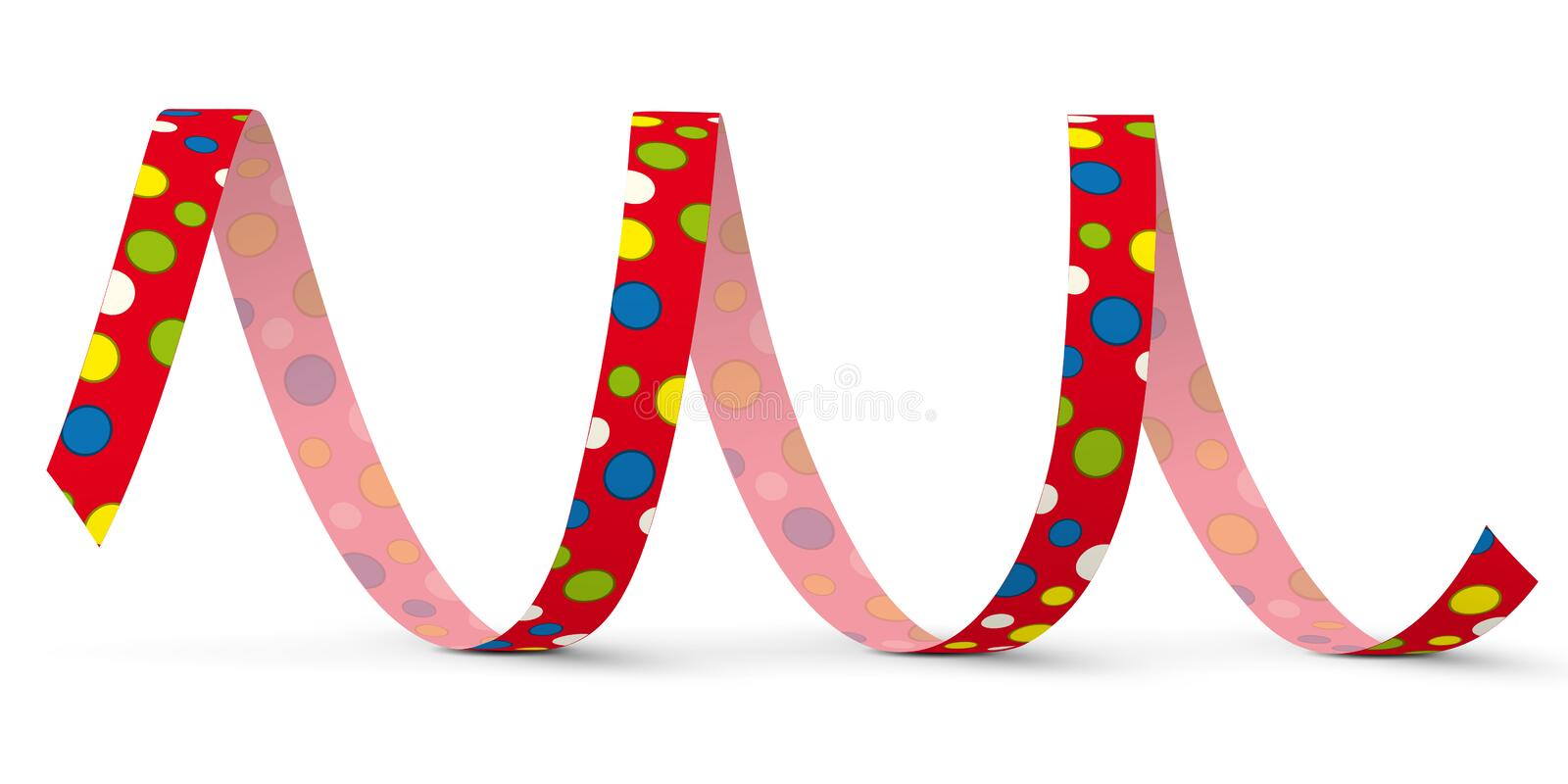Red Vector Paper Streamer with Colored Dots - Blow Out vector illustration