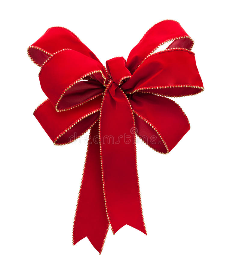 Red Velvet Bow Isolated On White Stock Images