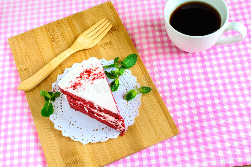 Red velvet cake. Close up of Red velvet cake and coffee on table stock images