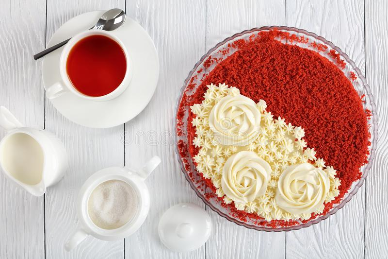 Red velvet cake and cup of tea royalty free stock images