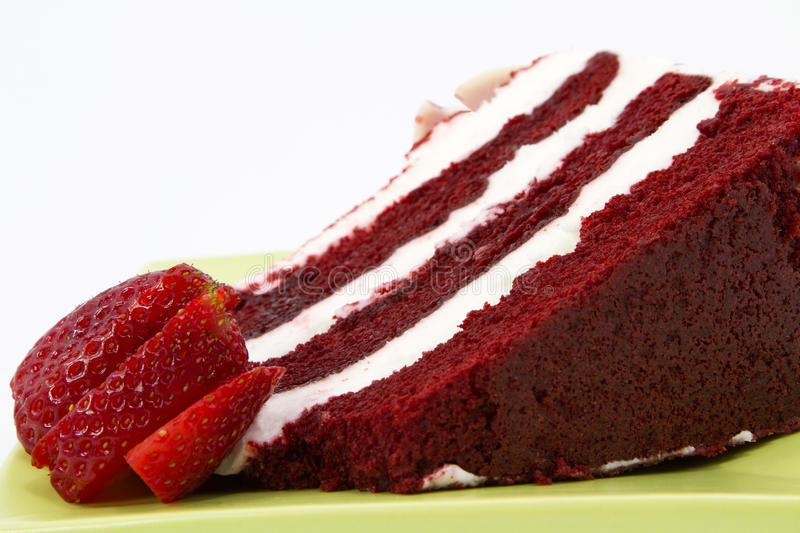 Download Red Velvet Cake Garnished With Strawberries Stock Photo - Image: 19158596