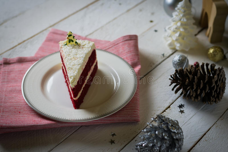 Red velvet cake with white cream decoration on white table for h. Oliday celebration,selective focus stock photo
