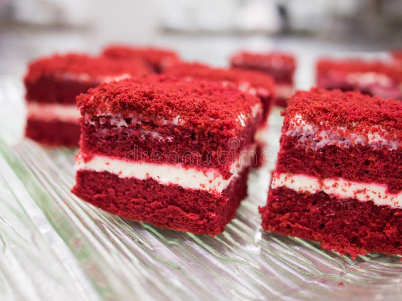 Red velvet cakes royalty free stock images