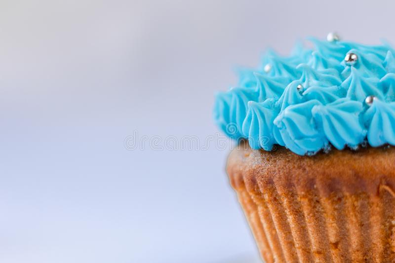 Blue custard cupcake, confectionery, sweet-stuff royalty free stock photography