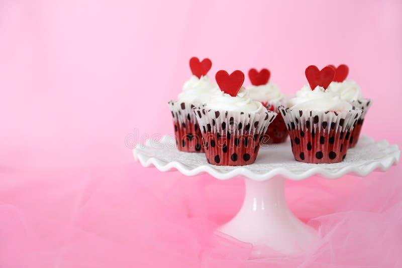 Red velvet cupcakes royalty free stock photo