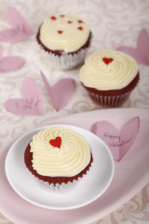 Red Velvet Cupcakes for Valentine`s Day royalty free stock photography