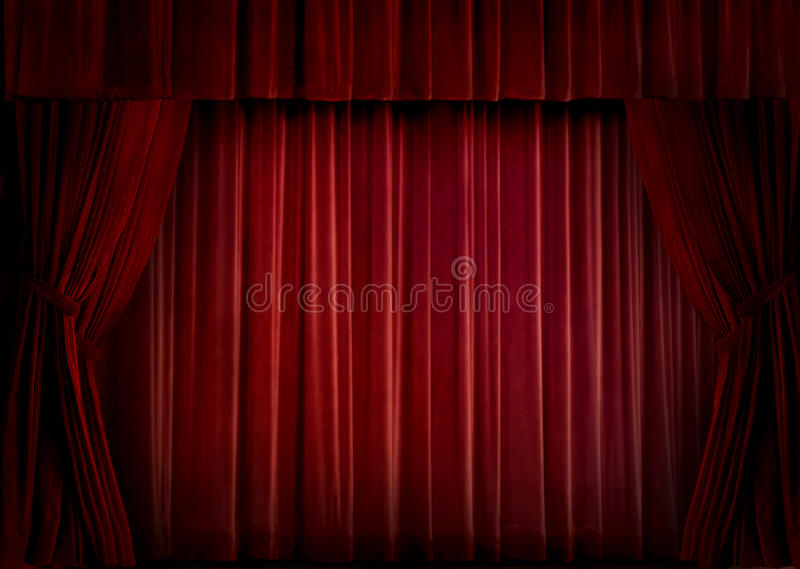 Red velvet curtain royalty free stock photos