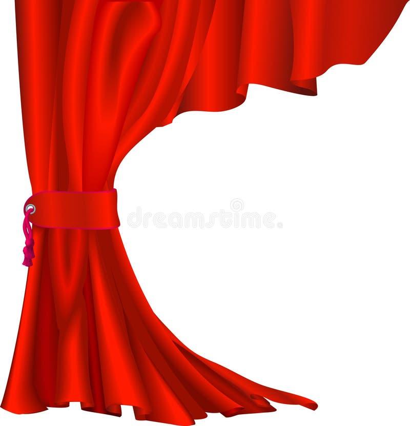 Red velvet curtain. Illustration of red velvet curtain with tassel like those in theatres or cinemas stock illustration
