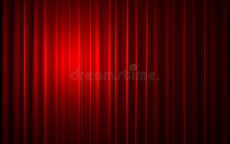 Red velvet curtain opening scene royalty free stock photos