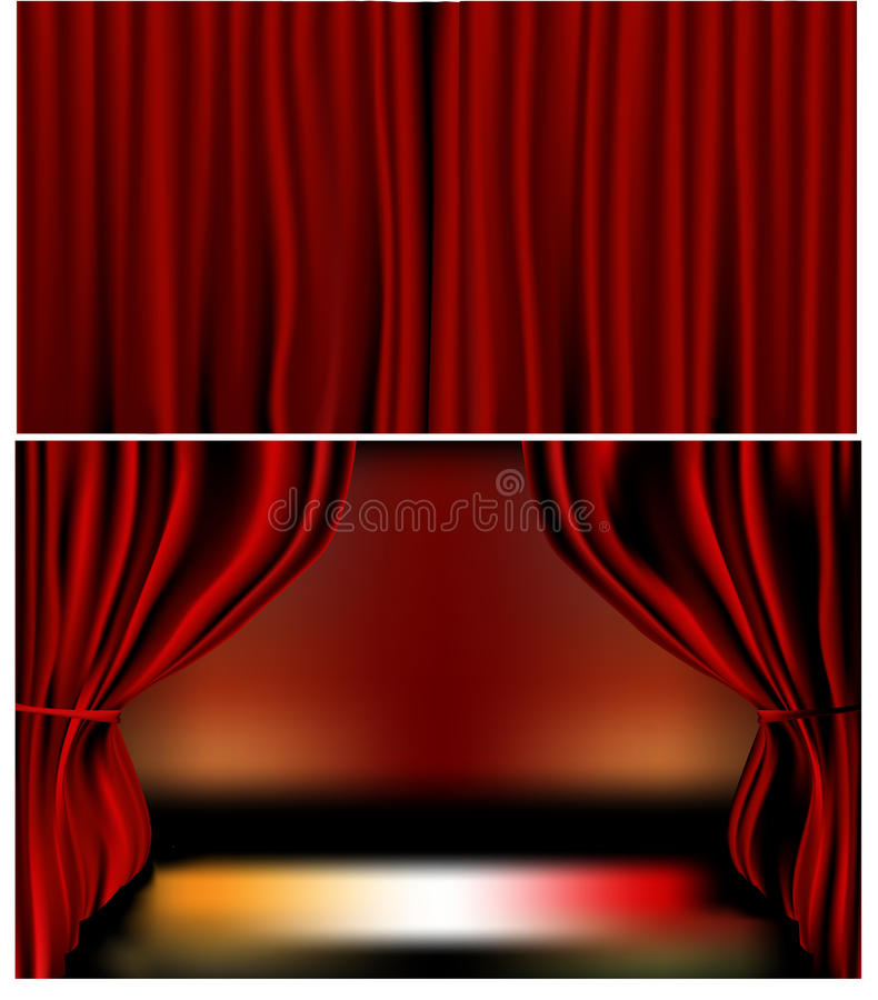 Red Velvet Curtains. Gradients meshes used. Closed and open curtains, each on separate layers. Vector illustration vector illustration