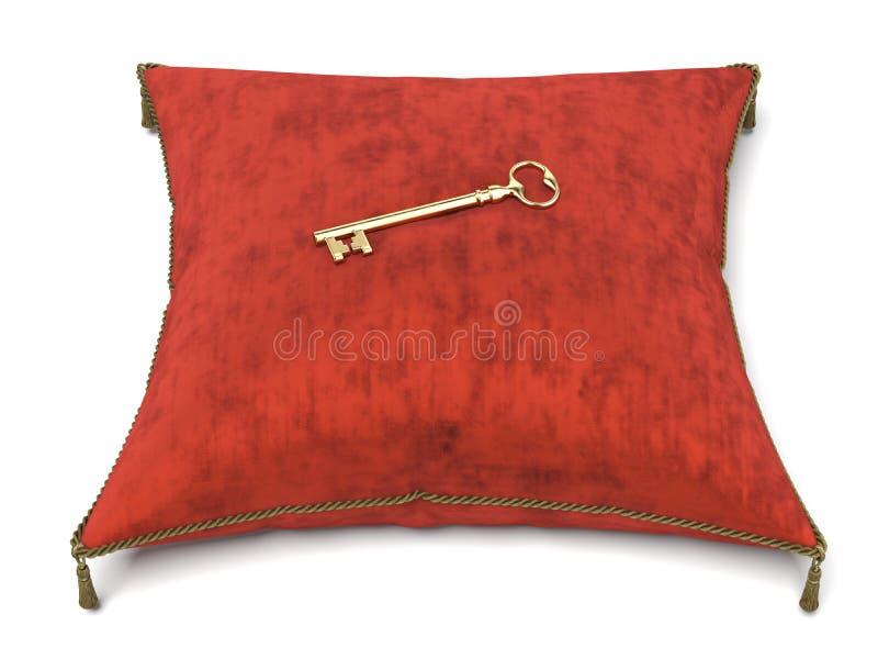 Red velvet pillow and key. Isolated on a white background. 3d render stock illustration