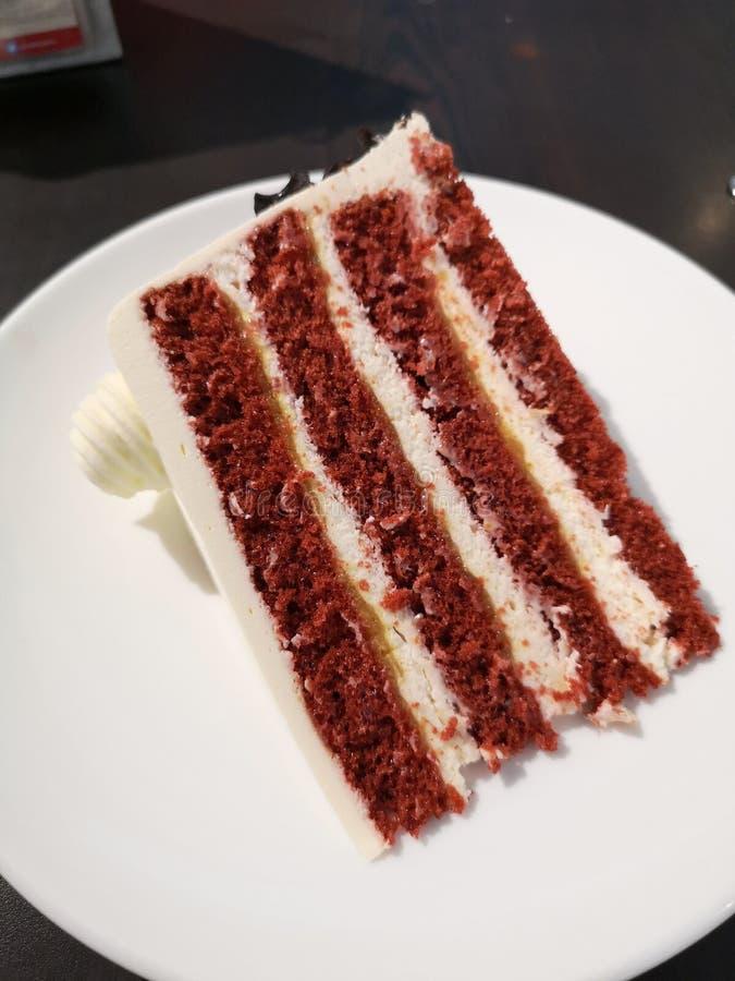 red velvet sponge  cake slice stock photos