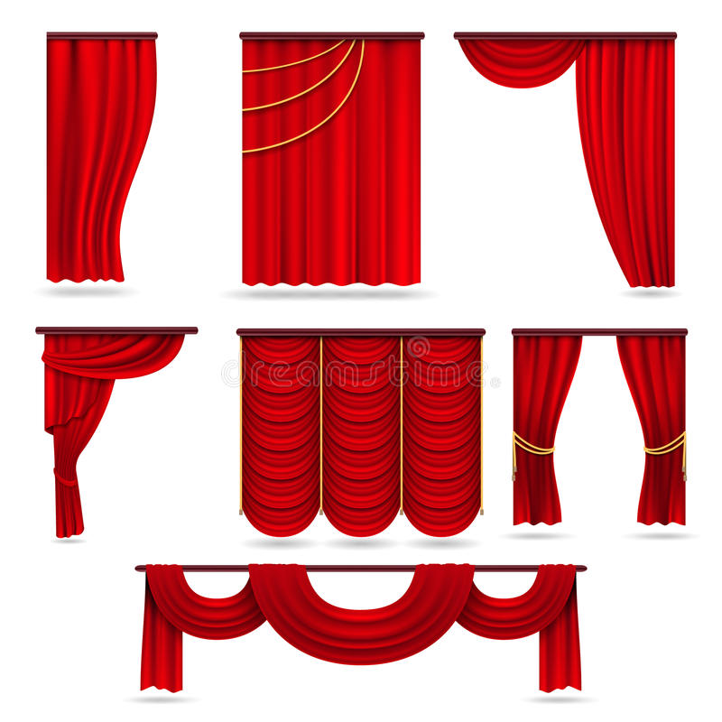 Red velvet stage curtains, scarlet theatre drapery isolated on white vector set vector illustration