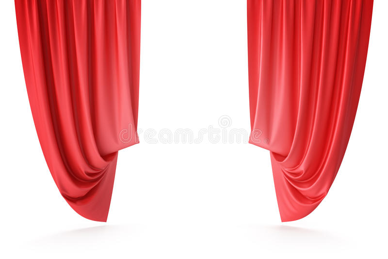 Red velvet stage curtains, scarlet theatre drapery. Silk classical curtains, red theater curtain. 3d rendering. Red velvet stage curtains, scarlet theatre royalty free illustration