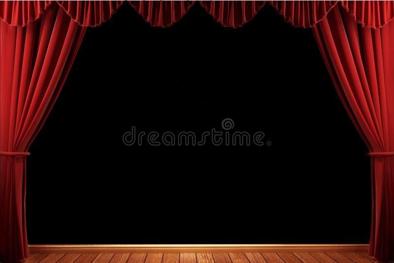 Red velvet theater curtains stock image
